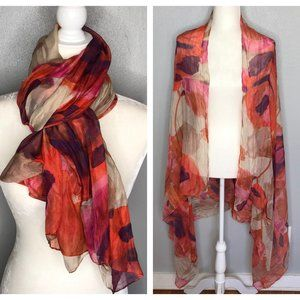 Sheer Watercolor Roses Flowers Scarf Wrap Cover-Up